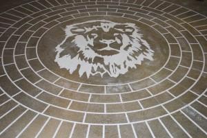 Circukar Brick Engraving and Stain with Logo