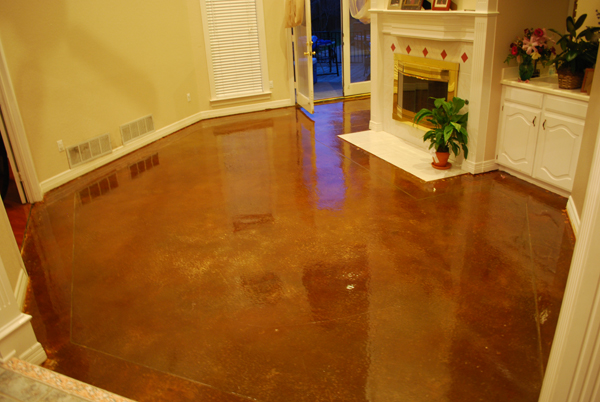 Interior floor stain cedar hill tx esr decorative for Interior concrete floors