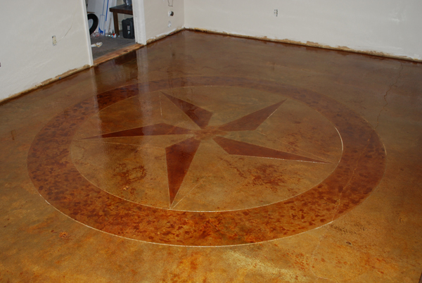 Custom Design Star Concrete Scoring Stained Floor Esr