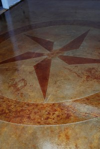Concrete Staining with Star Decorative Engraving