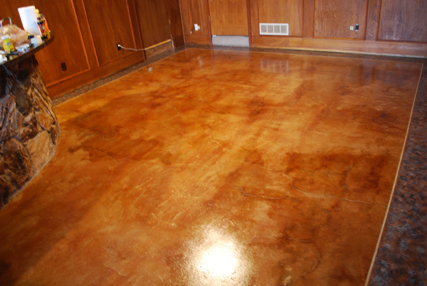 Acid Stained Concrete Floor With A Pigmented Faux Finish Border In Midlothian Tx