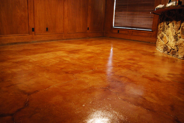 Acid stain home floor midlothian tx esr decorative for Stained polished concrete floor