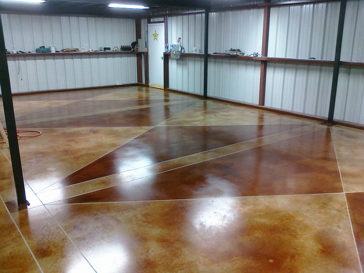 Custom Stained Concrete Floors : Shop floor acid stain and custom logo denton tx esr