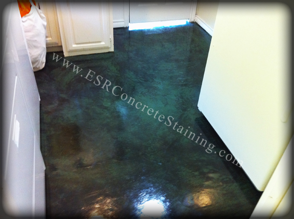 black stained concrete floors. Stained Concrete green micro finish  ESR Decorative Experts