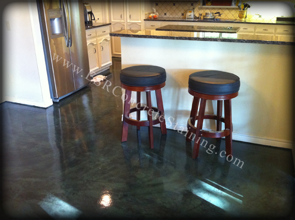 black stained concrete floors. Forest Green Decorative Concrete Floor Micro Finish Dallas  TX ESR Experts