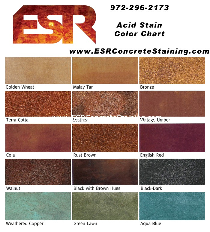 Acid Stain Color Chart