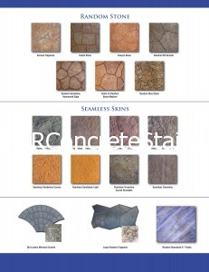 Decorative Concrete Stamp Texture Selection chart