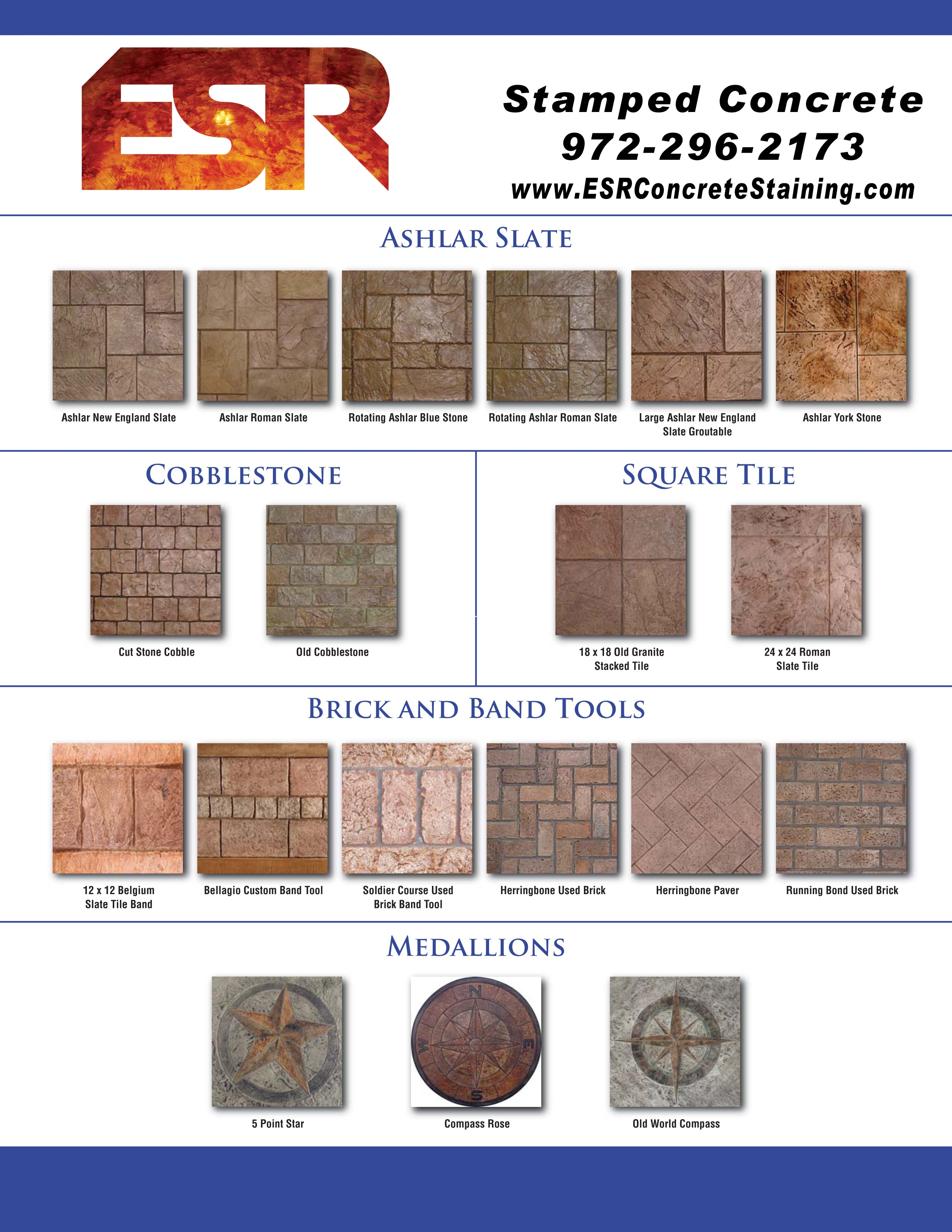 Stamped Concrete Texture Chart