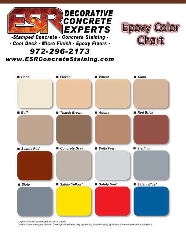 Industrial Epoxy Flooring Color Chart Texas