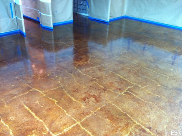 Acid stained concrete restoration highland park tx esr for Stained concrete floors