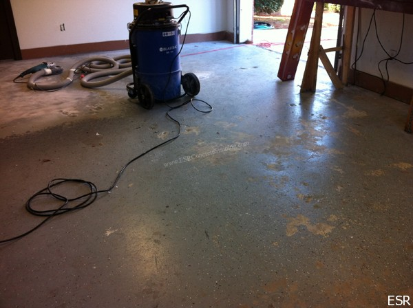 Failing Epoxy Flooring Being Removed.