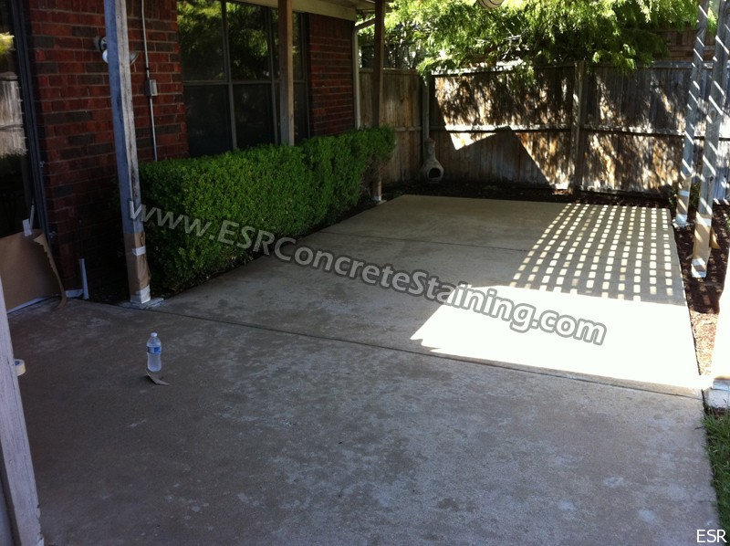 Patio concrete staining coppell tx 1 esr decorative for Cleaning stained concrete patio