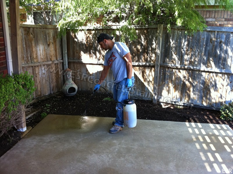 Patio concrete staining coppell tx 4 esr decorative for Cleaning stained concrete patio