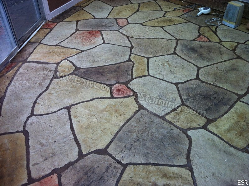 Flagstone Sta,ped Concrete Overlay. Patio With Stamped ...
