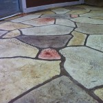 Flagstone stamped concrete overlay