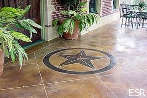 Acid Stained Concrete with Engraved Star