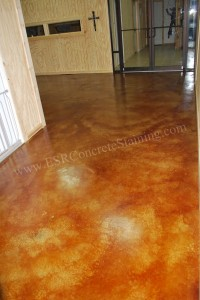 Leather acid stained floor