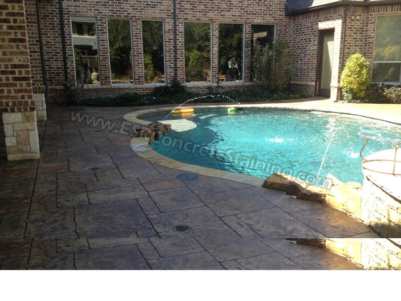 Stamped Concrete Overlay Pool Deck Frisco Tx1 Esr