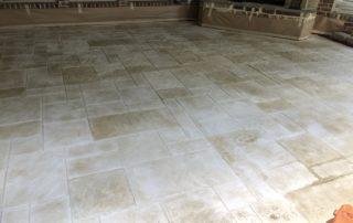 Ashlar Slate Stamped Concrete Overlay Patio Midlothian Texas