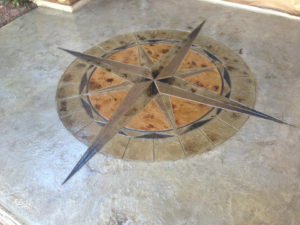 Compass Medallion Stamped Concrete Overlay Dallas, Texas