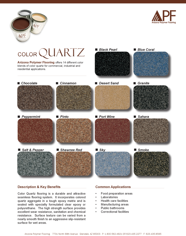 Epoxy Quartz Flooring Color Chart Texas