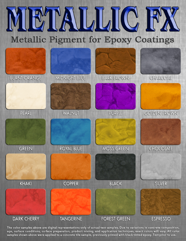 Designer Metallic Epoxy Flooring Color Chart Dallas, TX