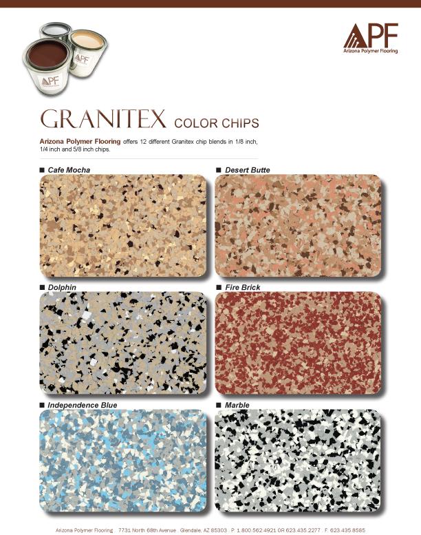 Epoxy Chip Garage Flooring Color Chart Dallas, Texas