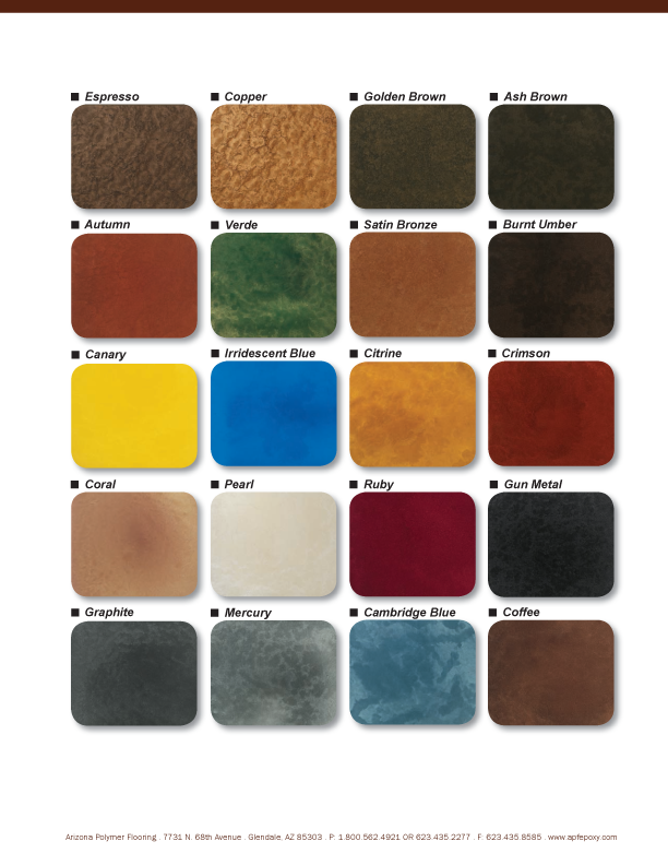 Metallic Epoxy Flooring Color Chart Texas