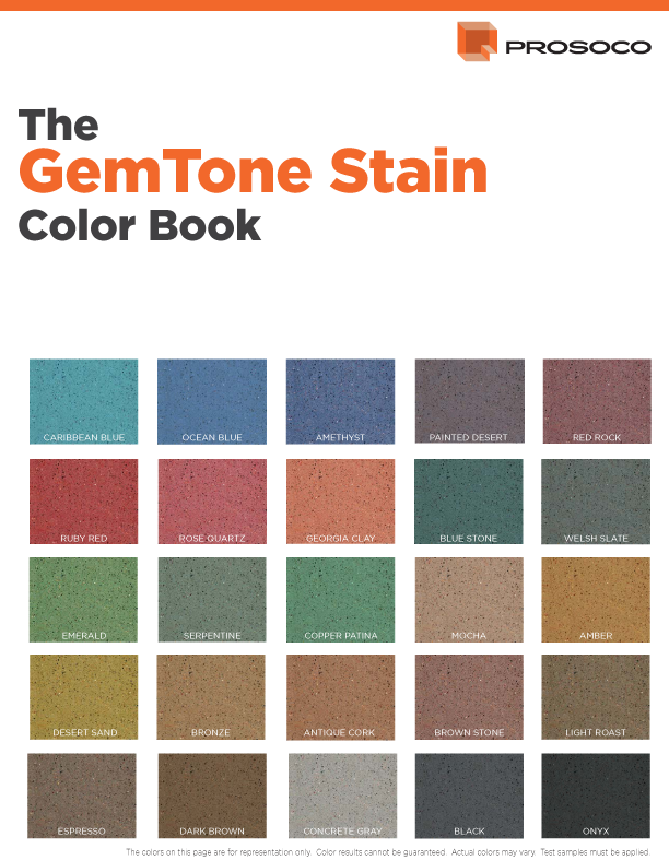 Polished Concrete Stain Dye Color Chart Prosoco GemTone