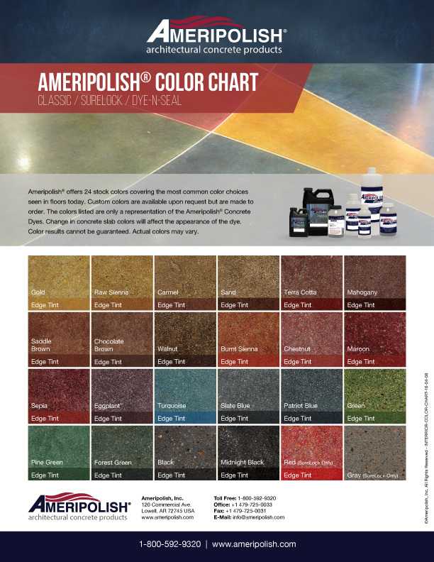 Polished Concrete Stain Dye Color Chart Ameripolish