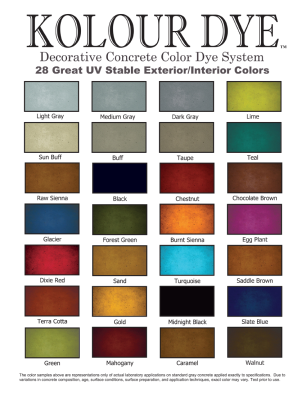 Concrete Staining Dye Color Chart Texas